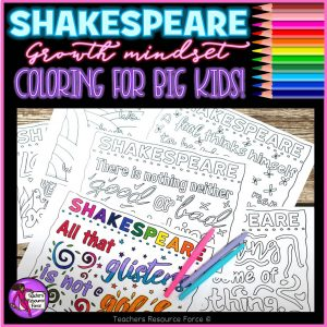 Inspirational Quotes Colouring Pages: Shakespeare Themed