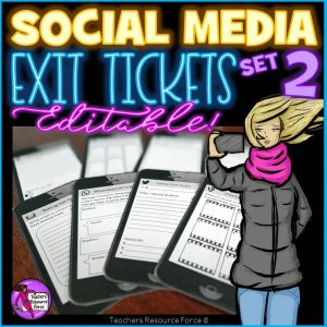 Social Media Editable Exit Tickets in a Cell Phone Style