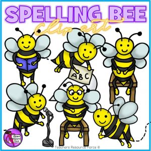 Spelling Bee Clip Art: Bees Reading, Spelling and Speaking