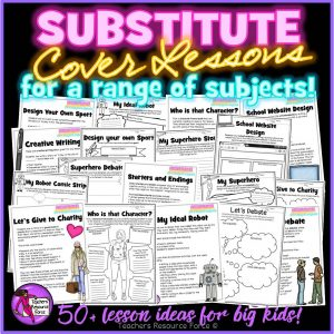 Substitute Cover Lessons Pack for Big Kids: Ready to Print and Use