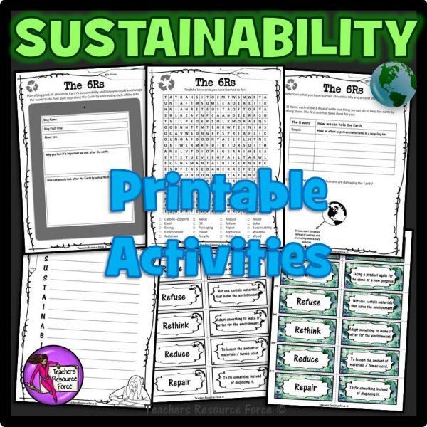 6Rs of Sustainability for Earth Day: PowerPoint, Printables. Task Cards