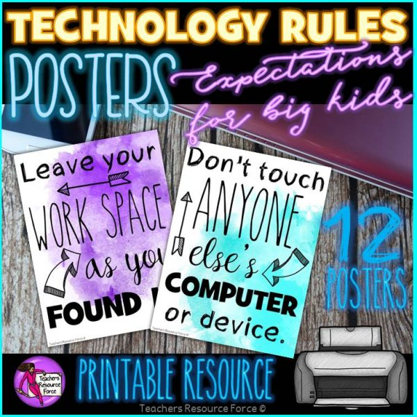 Technology Rules Posters: Classroom Decor for Computer Lab