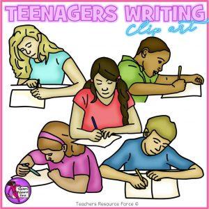 Teenagers Writing Realistic Clip Art