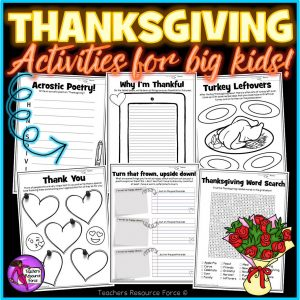 Printable Thanksgiving Activities for Big Kids