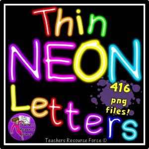 Thin Neon Alphabet Letters Clip Art