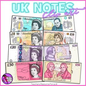 British UK Money Clip Art: £5, £10, £20 and £50 Notes
