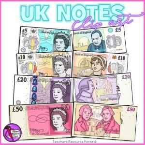 British UK Money Clip Art: £5, £10, £20 and £50 Notes