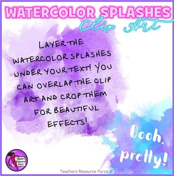 Watercolour Splashes Clip Art