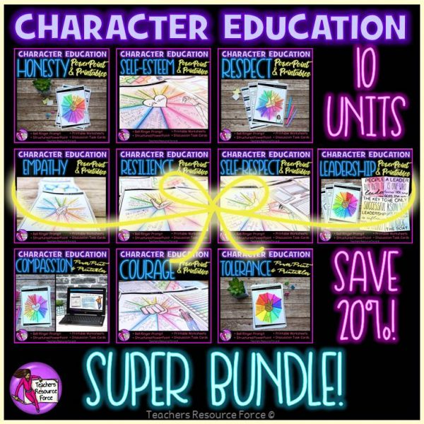 Character Education Bundle: PowerPoint, Activities, Discussion Cards
