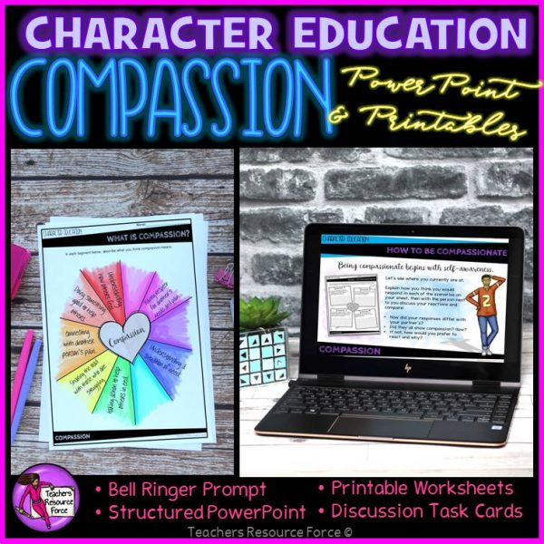 Compassion Character Education: PowerPoint, Activities, Discussion Cards