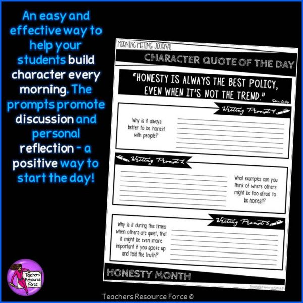 HONESTY Character Education Morning Meeting Printable Journal