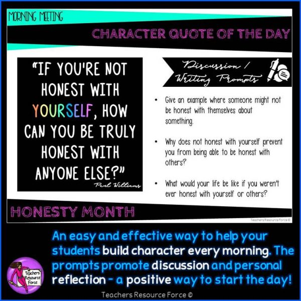 HONESTY Character Education Morning Meeting Digital Whiteboard PowerPoint