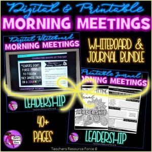 LEADERSHIP Character Education Morning Meeting Whiteboard & Journal BUNDLE