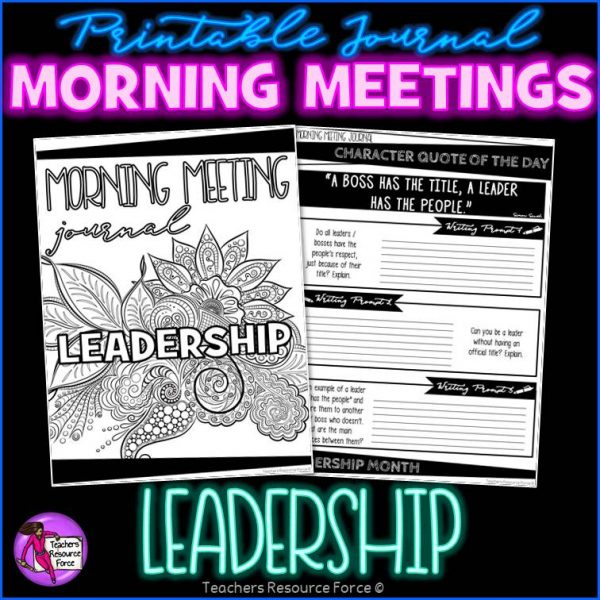 LEADERSHIP Character Education Morning Meeting Whiteboard & Journal BUNDLE