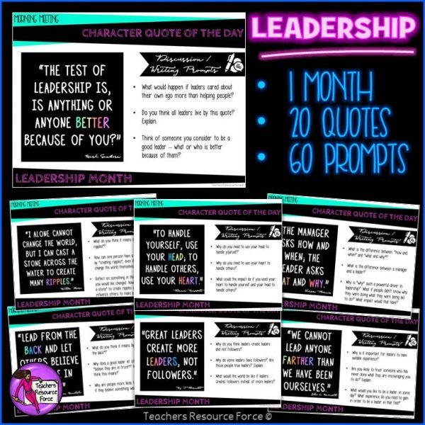 LEADERSHIP Character Education Morning Meeting Digital Whiteboard PowerPoint