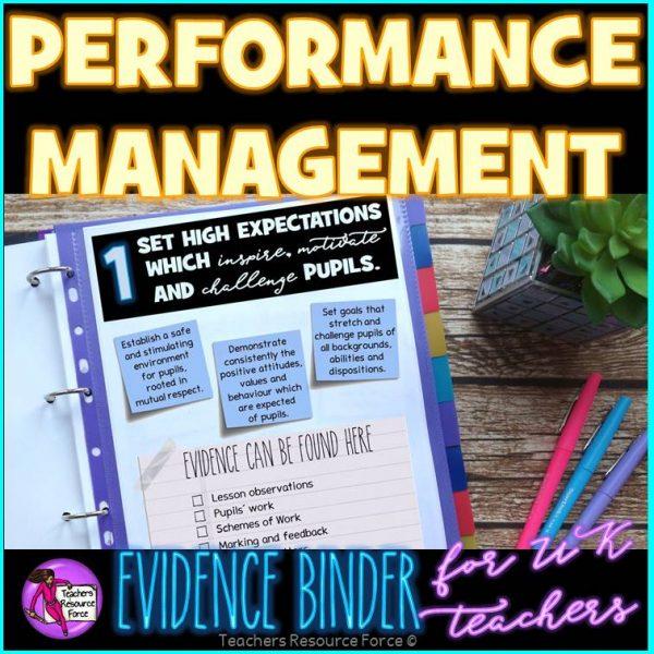 Performance Management: UK Teachers' Standards Evidence Binder
