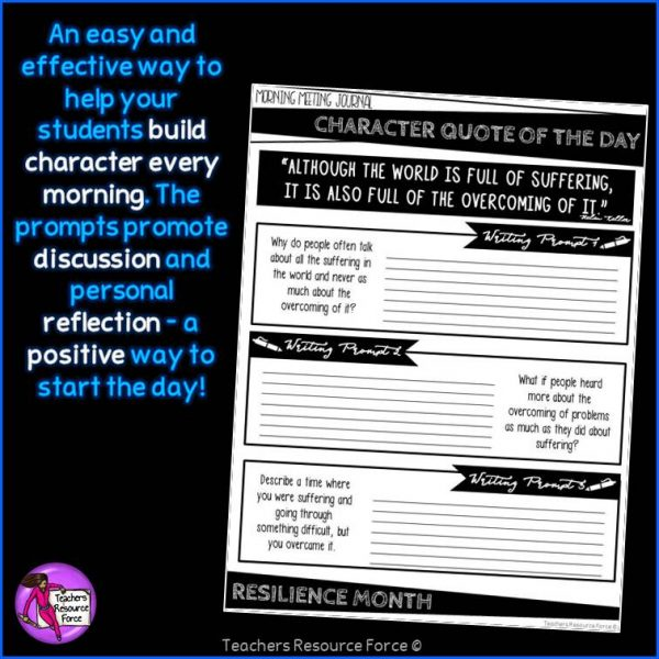 RESILIENCE Character Education Morning Meeting Whiteboard & Journal BUNDLE