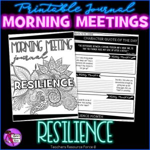 RESILIENCE Character Education Morning Meeting Printable Journal