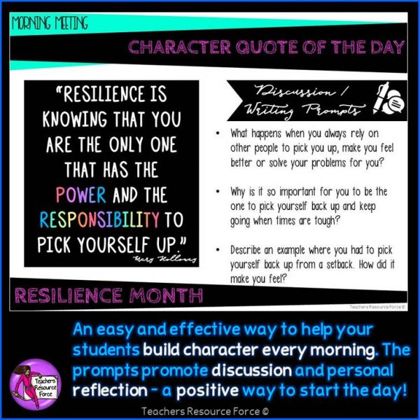 RESILIENCE Character Education Morning Meeting: Digital Whiteboard PowerPoint