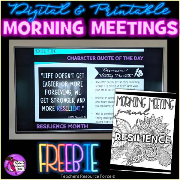 Free Resilience Character Education Morning Meeting Whiteboard & Journal