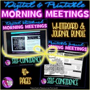 SELF-ESTEEM Character Education Morning Meeting Whiteboard & Journal BUNDLE