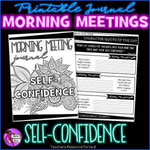 SELF-ESTEEM Character Education Morning Meeting Printable Journal