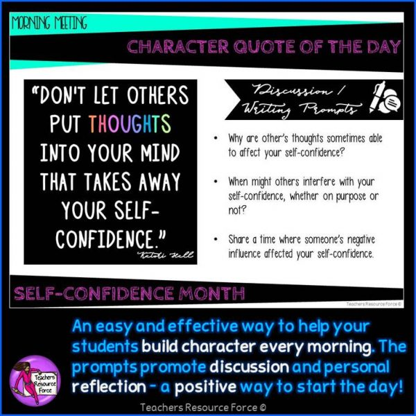 SELF-ESTEEM Character Education Morning Meeting Digital Whiteboard PowerPoint