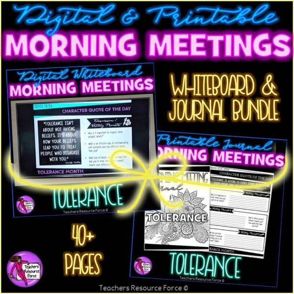 TOLERANCE Character Education Morning Meeting Whiteboard & Journal BUNDLE