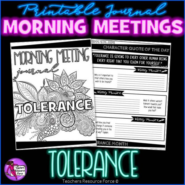 TOLERANCE Character Education Morning Meeting Printable Journal