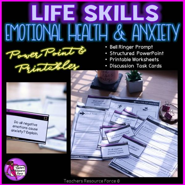 SEL Emotional Health and Anxiety (PowerPoint, Printables & Discussion Cards)
