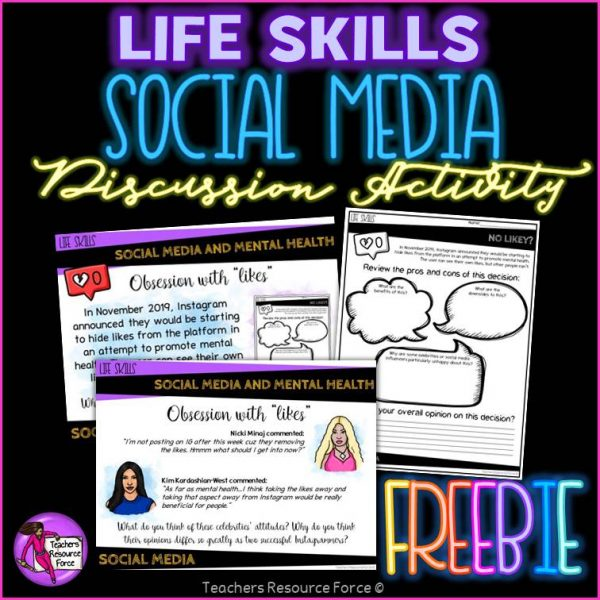 FREE Social Media and Mental Health SEL Discussion Activity