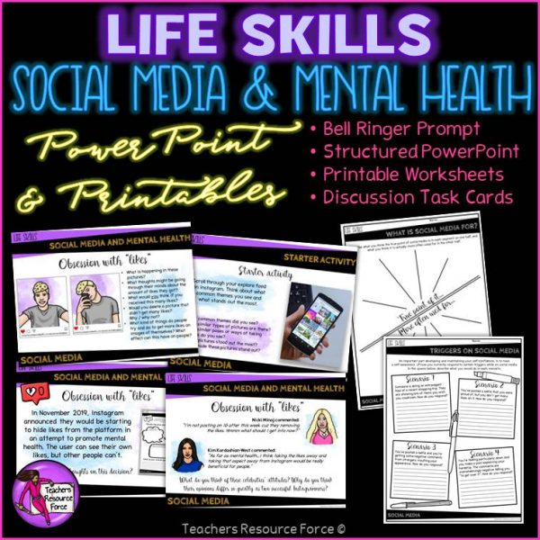 Social Media and Mental Health SEL (PowerPoint, Printables & Discussion Cards)