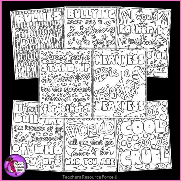 Anti-Bullying Inspirational Quote Colouring Pages and Posters