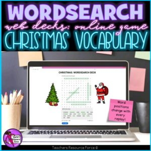 Christmas Vocabulary: Wordsearch Online Game