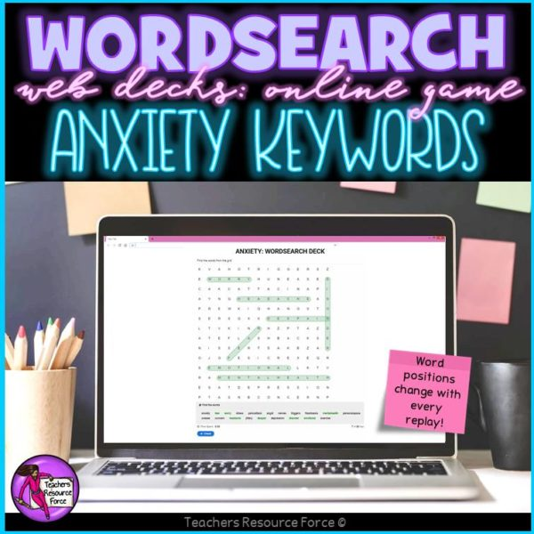 Anxiety Vocabulary: Wordsearch Online Game