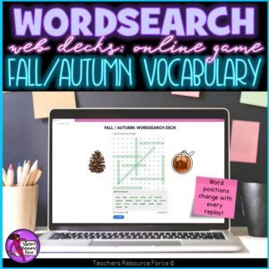 Fall / Autumn Vocabulary: Wordsearch Online Game