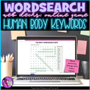 Human Body Vocabulary: Wordsearch Online Game
