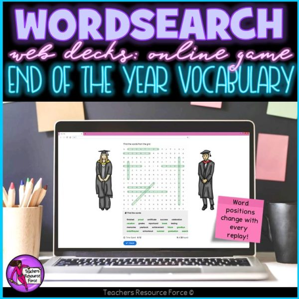 End of the Year Vocabulary: Wordsearch Online Game