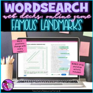 Famous Landmarks: Wordsearch Online Game
