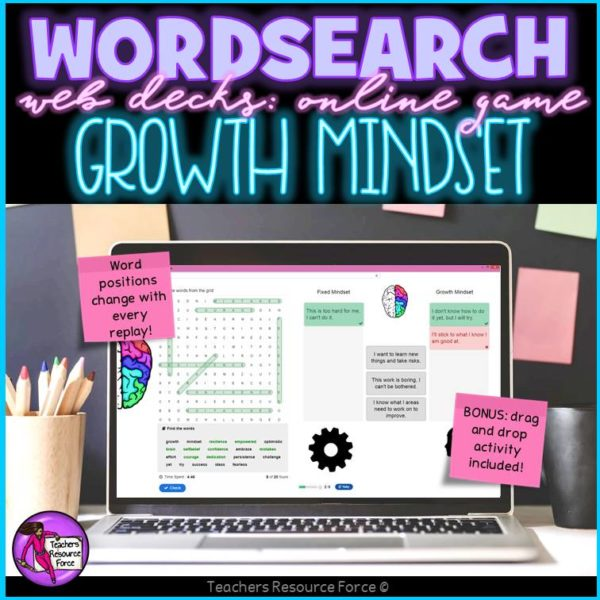 Growth Mindset: Wordsearch Online Game