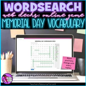 Memorial Day Vocabulary: Wordsearch Online Game