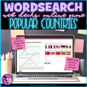 Popular Counties: Wordsearch Online Game