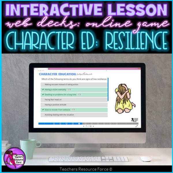 Resilience Interactive Lesson self directed online for distance learning