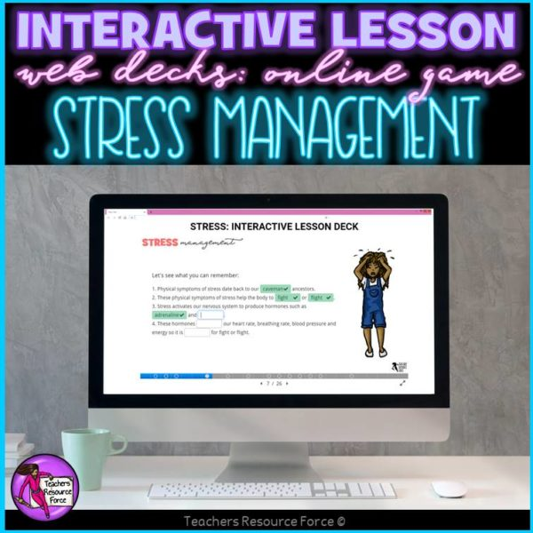 Stress Management Interactive Lesson self directed online for distance learning