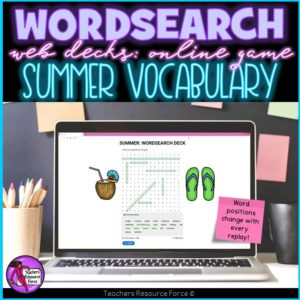 Summer Vocabulary: Wordsearch Online Game