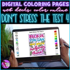 Digital Quote Colouring Pages: Don't Stress The Test 4