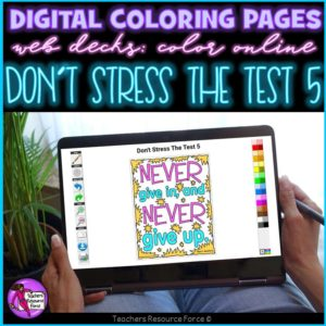 Digital Quote Colouring Pages: Don't Stress The Test 5