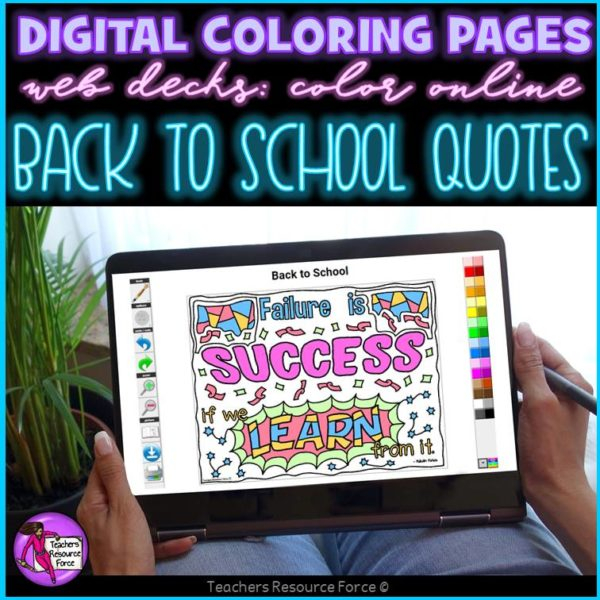 Digital Quote Colouring Pages: Back to School Quotes