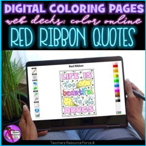 Digital Quote Colouring Pages: Red Ribbon Quotes