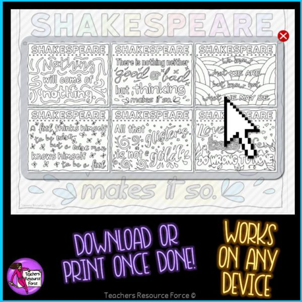 Digital Quote Colouring Pages: Shakespeare Quotes